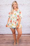 shirt, short sleeve, babydoll, long, flowy, longer back, white, floral, red, green, yellow, comfy