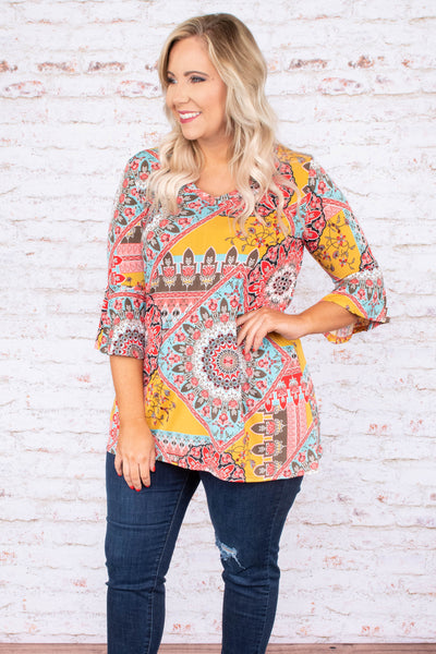 top, tunic, yellow, medallion print, three quarter sleeve, red, blue, brown