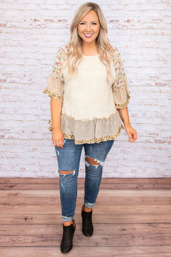 top, basic top, brown, floral, oatmeal, ruffles, three quarter length