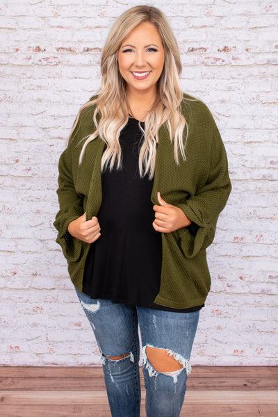 top, cardigan, green, olive, solid, bubble sleeve, long sleeve