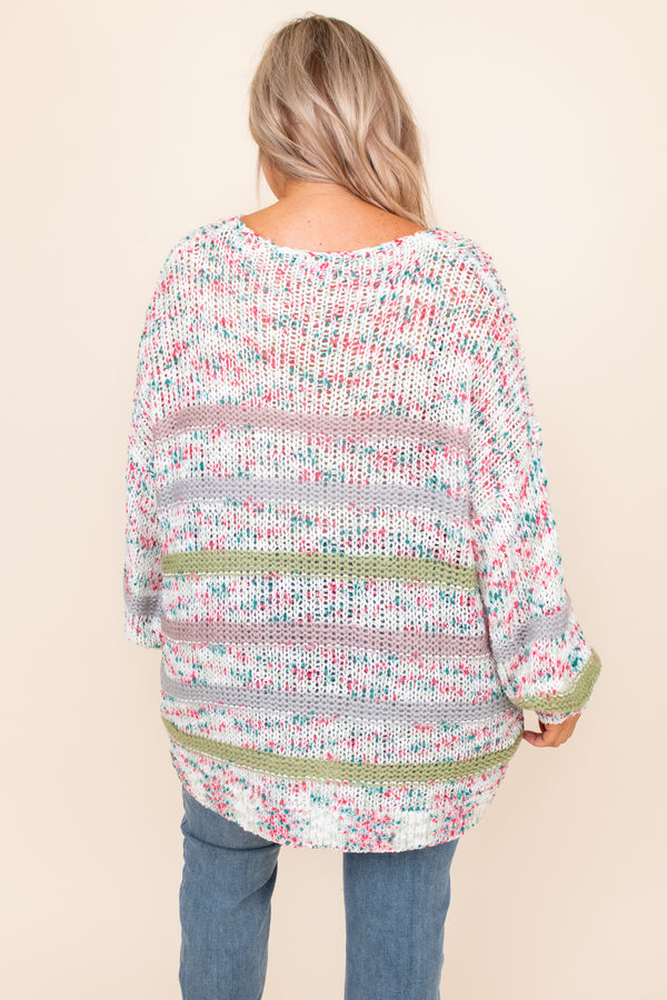 top, sweater, green, pink, white, striped, confetti, long sleeve
