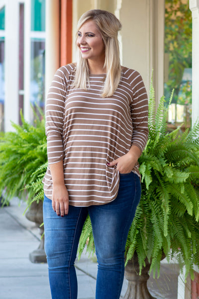 shirt, three quarter sleeves, taupe, white, striped, curved hem, flowy, comfy