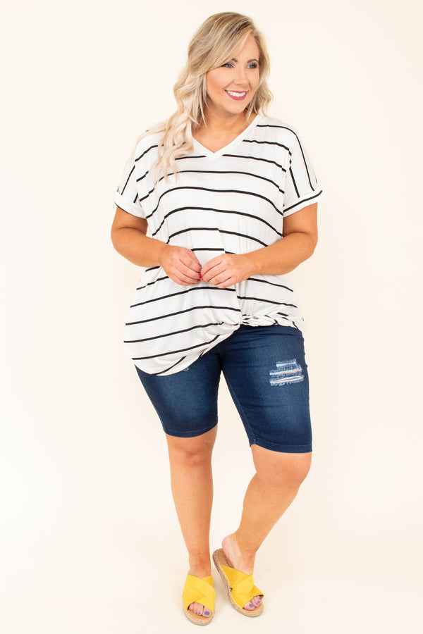 top, short sleeve, ivory, v neck, black stripe, twist waist