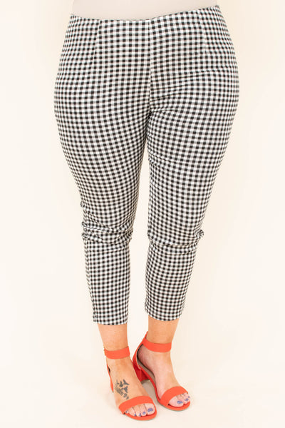 pants, bottoms, black, white, checkered, gingham, ankle length, skinny