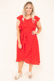 dress, midi length, red, white polka dot, tie waist, ruffle sleeve, short sleeve