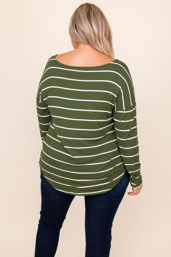 top, casual, green, striped, long sleeve, twist