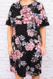 dress, midi length, black, purple pink floral print, short sleeve, bell sleeve, pockets