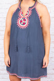 dress, tank top, navy, embroidery, tan, red, tie top, v neck