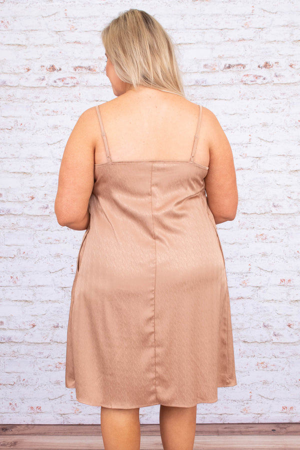 dress, short, sleeveless, spaghetti straps, vneck, pockets, flowy, rose gold, shiny, comfy, spring, summer