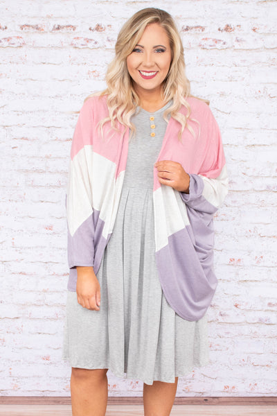 cardigan, long sleeve, drapey, pink, white, lavender, colorblock, comfy