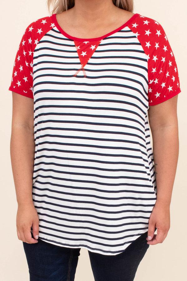 shirt, top, short sleeve, americana, stripes, stars, red, white, blue, stars sleeves, loose, comfy