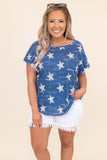 shirt, short sleeve, stars, navy, blue, white, loose, comfy, americana