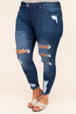 jeans, skinny, frayed hems, dark blue, faded, distressed, ripped