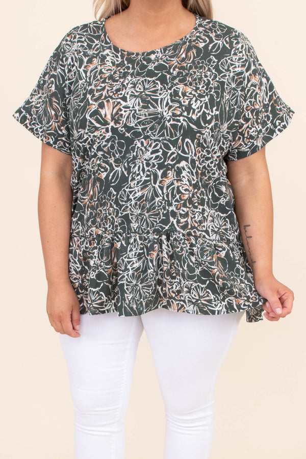shirt, short sleeve, baby doll, floral, hunter green, white, short sleeve, loose, comfy