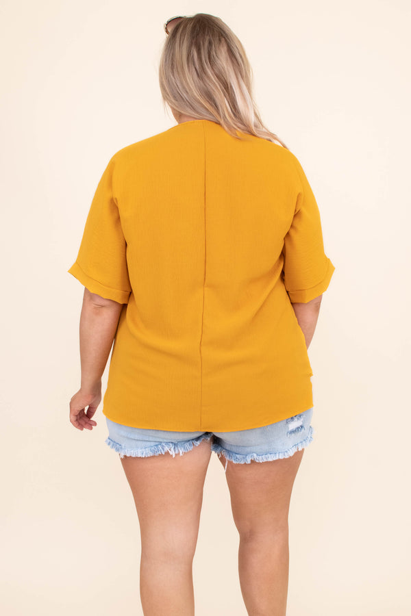 shirt, short sleeve, v neck, wrap front, mustard, loose, comfy