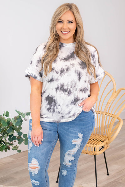 top, casual, white, tie dye, short sleeve, grey