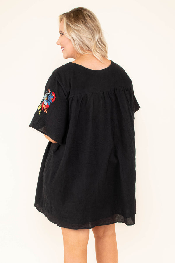 dress, short, short sleeve, black, flowy, embroidery, red, multi