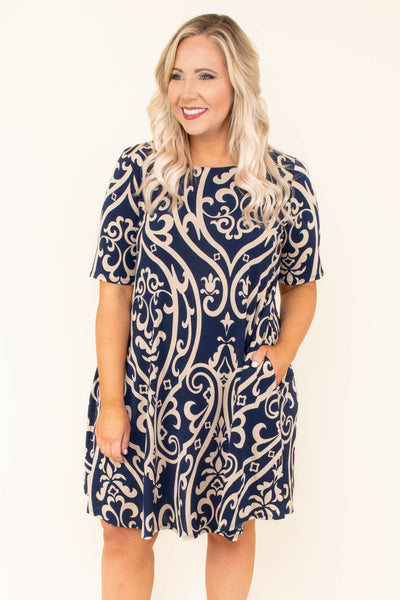 Overzealous and Chic Dress, Navy