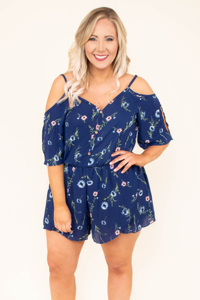 New Found Paradise Romper, Navy