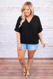 shirt, short sleeve, black, v neck, wrap front, loose, comfy