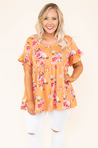 tunic, short sleeve, bell sleeves, babydoll, flowy, scoop neck, orange, floral, red, white, green, blue, comfy