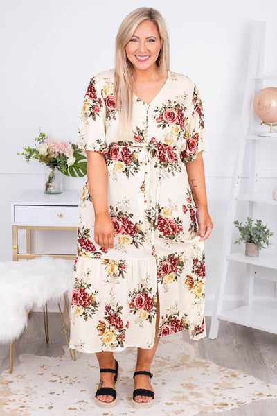 dress, midi, short sleeve, vneck, button down, tiered, tie waist, flowy, white, floral, green, red, yellow, comfy