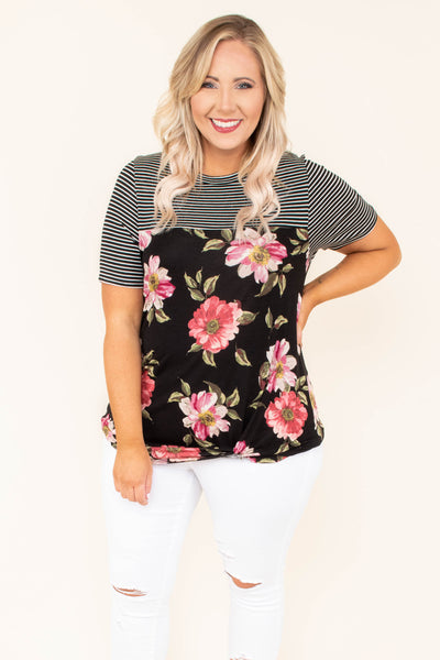 top, short sleeve, twist detail, floral, stripe, black