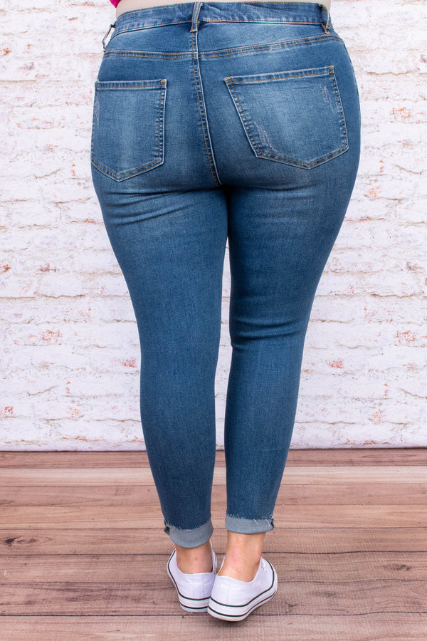 jeans, skinny jeans, distressed, knee tears, long, medium blue