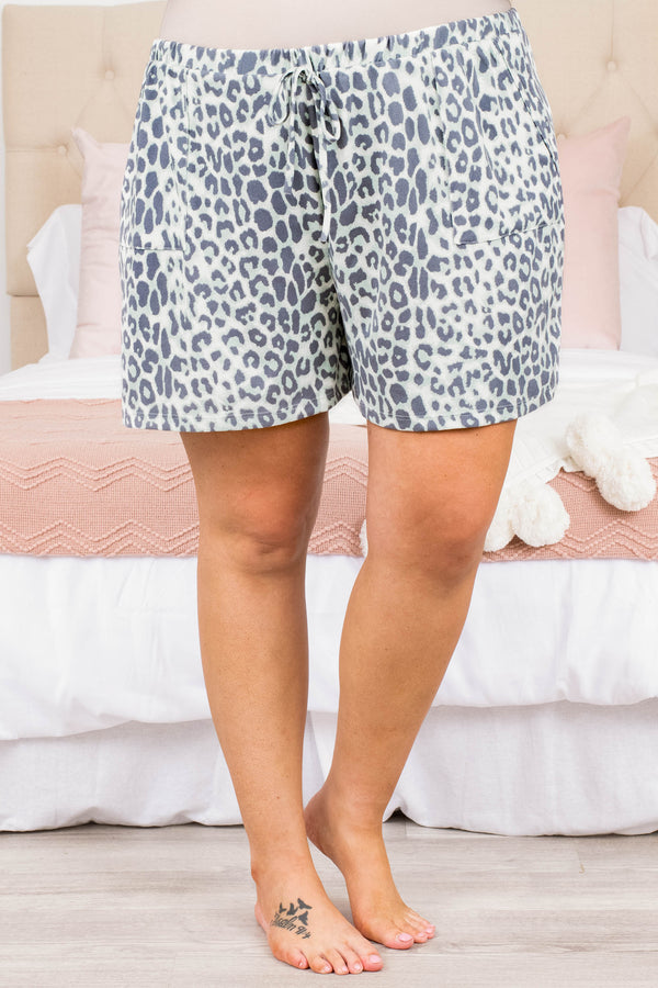 shorts, lounge wear, leopard mint, gray, drawstring waist, loose, comfy, pockets