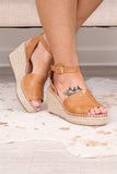 wedges, shoes, camel, braided rope sole, open toe, ankle strap