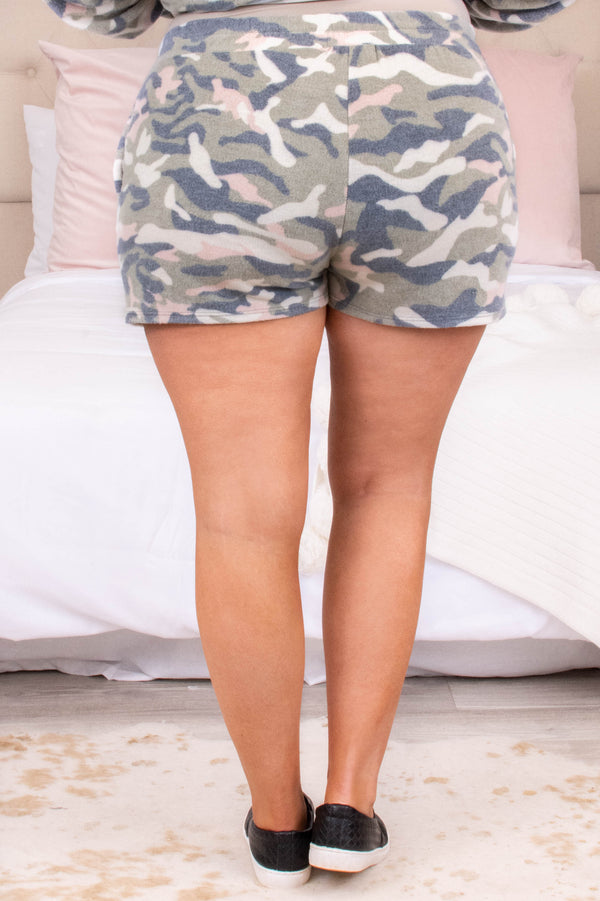 bottoms, lounge, shorts, green, camoflauge, drawstring, comfy, cozy