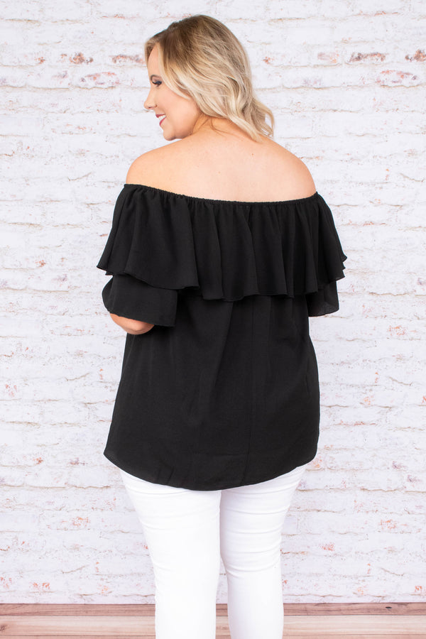 shirt, short sleeve, off the shoulder, ruffle hem, long, flowy, black, comfy