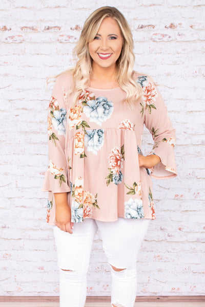 shirt, three quarter sleeve, babydoll, bell sleeves, pink, blue, white, floral, flowy, comfy