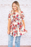 shirt, short sleeve, babydoll, curved hem, white, floral, red, gray, comfy, flowy