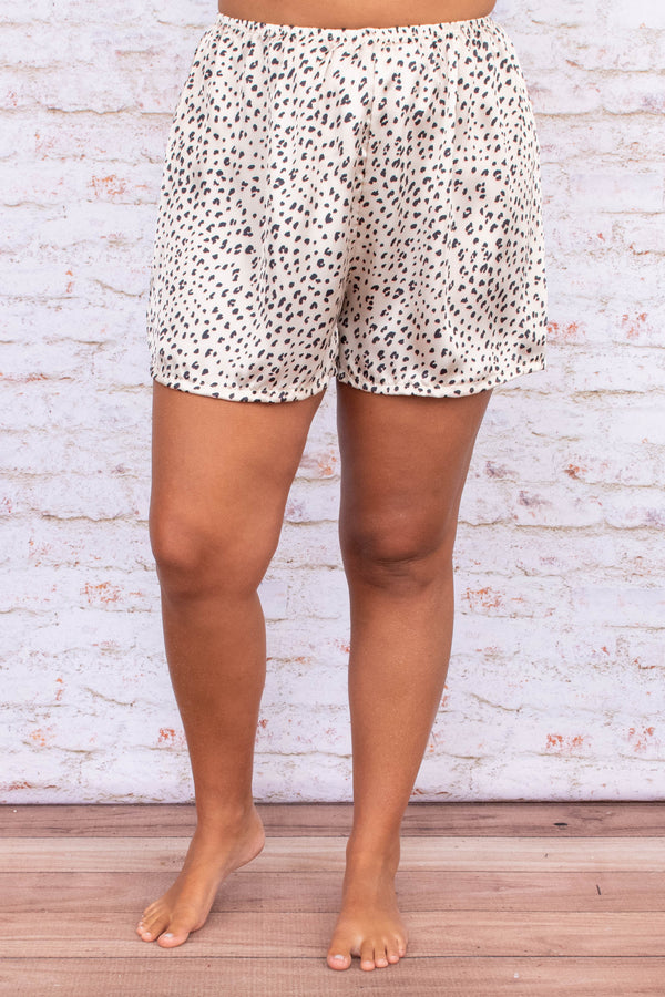 pants, shorts, lounge wear, lounge shorts, leopard, ivory, black, elastic waist band, loose, comfy, satin finish