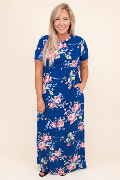 dress, maxi, short sleeve, pockets, flowy, blue, floral, pink, white, green, comfy