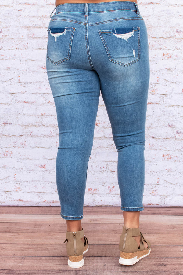 pants, jeans, skinny jeans, long, distressed, tears, medium blue
