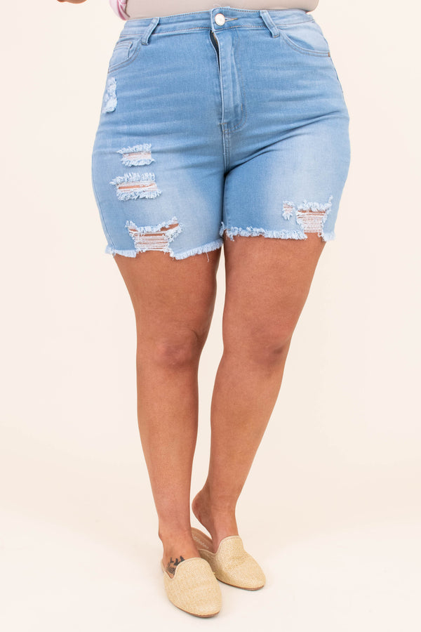 shorts, cutoffs, frayed, light blue, faded, distressed, ripped, denim
