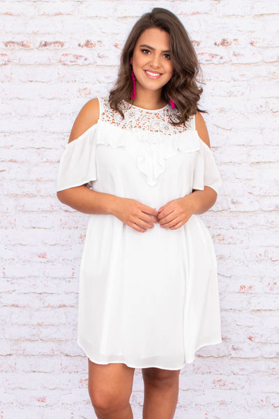 dress, short dress, off the shoulder, cold shoulder, ruffle detailing, white, short sleeve, lace neckline, loose, comfy, spring, summer