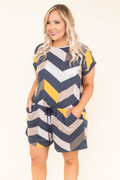 Life Changing Romper, Navy-Mustard