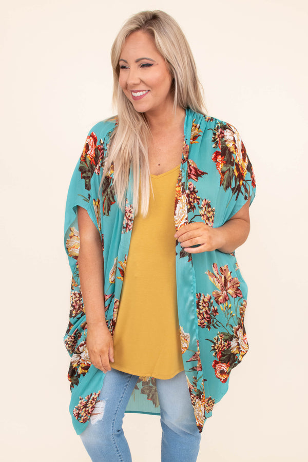 kimono, short sleeve, long, drapey, flowy, mint, floral, red, green, yellow, pink, comfy, outerwear, spring, summer
