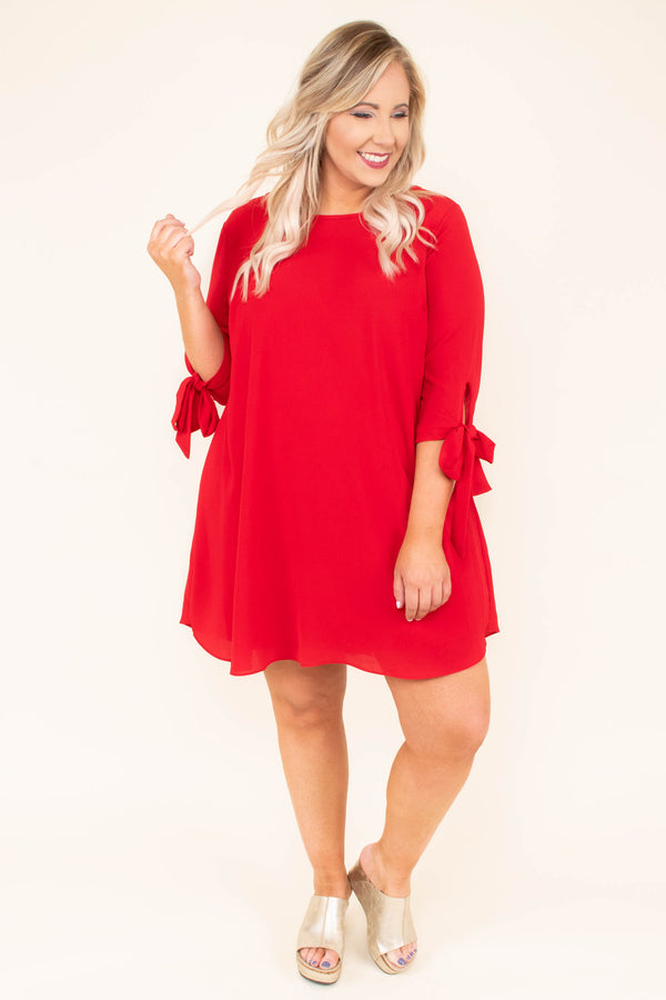 dress, above the knee, tie sleeves, three quarter sleeves, a line, cute, comfy