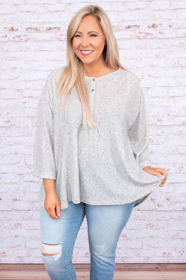 shirt, three quarter sleeve, vneck, quarter button down, babydoll, curved hem, flowy, white, black, striped, comfy