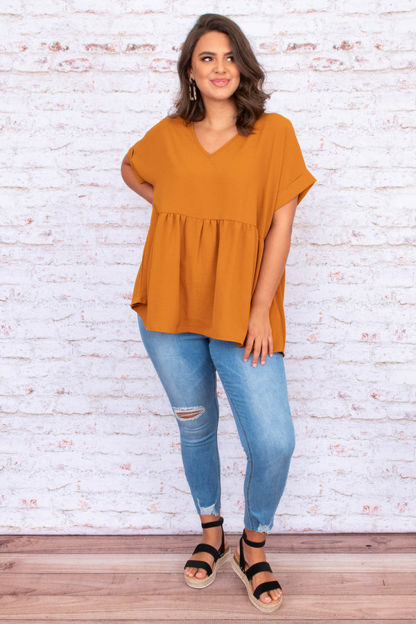 shirt, top, short sleeve, loose, comfy, baby doll, dark mustard, orange