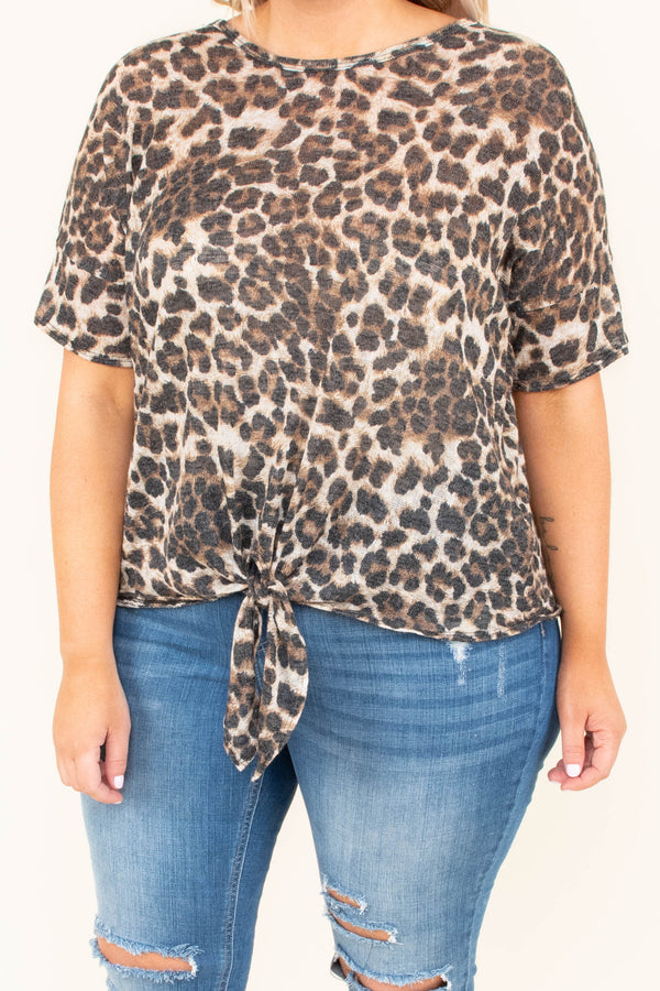 shirt, short sleeve, tie front, short, brown, charcoal, leopard, comfy