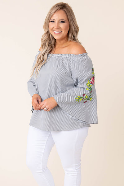 top, shirt, blouse, black, striped, three quarter sleeve, flower, off the shoulder