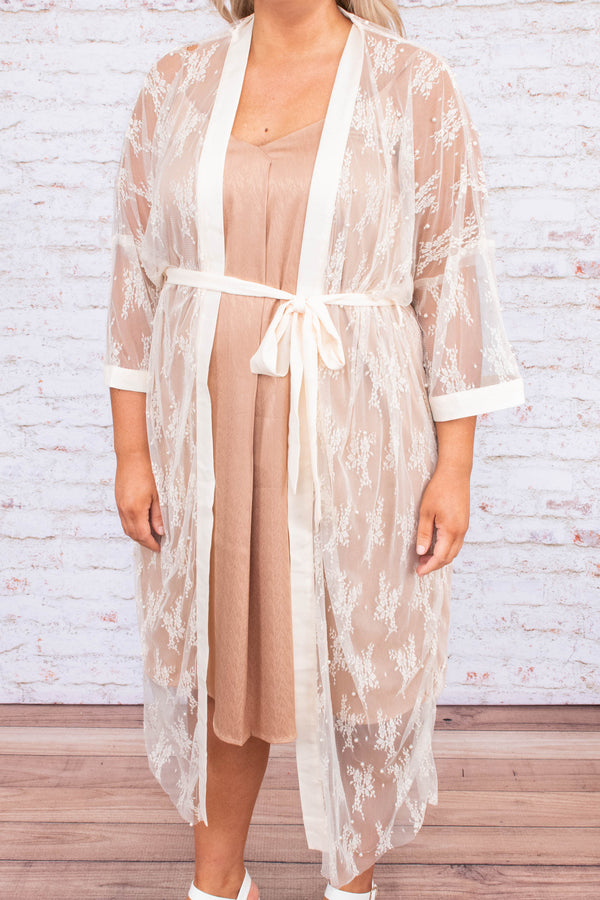 kimono, three quarter sleeve, floor length, sheer, lace, champagne, flowy