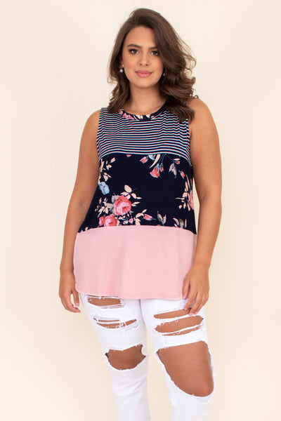 shirt, top, sleeveless, color block, stripes, floral, solid, navy, white, pink
