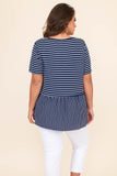 shirt, top, baby doll, short sleeve, stripes, navy, ivory, loose, comfy
