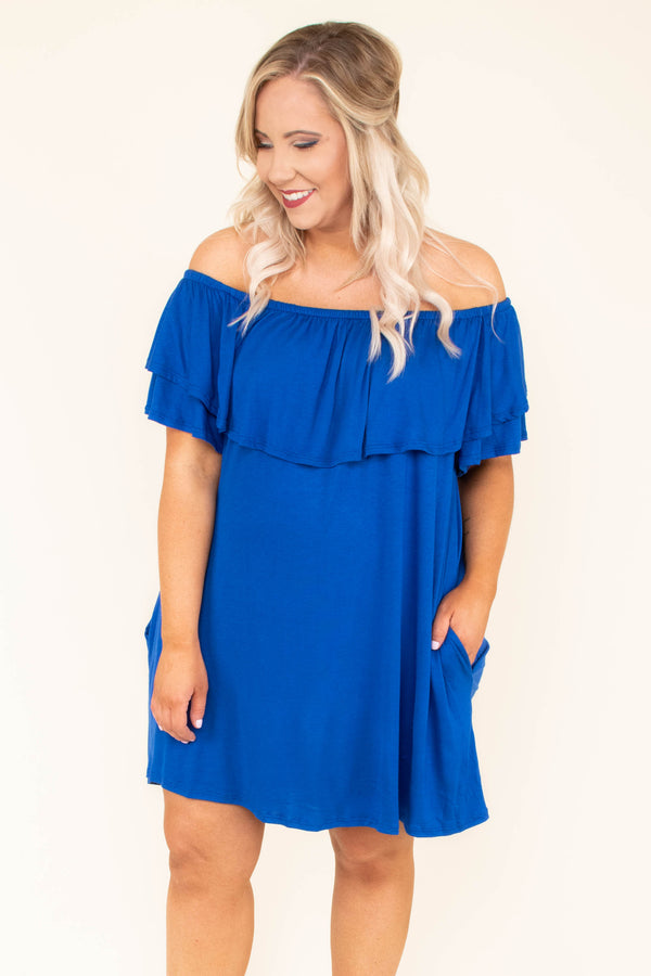 dress, short, short sleeve, off the shoulder, ruffle top, pockets, flowy, comfy, blue, spring, summer